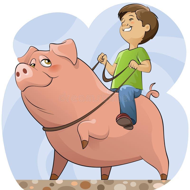 Schwein und Junge stock abbildung