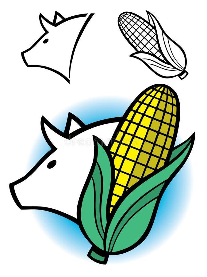 Schwein und Kornähre Grafik stockfotografie