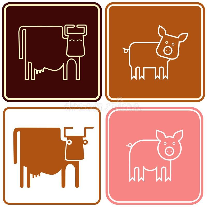 Schwein und Kuh - Zeichen stock abbildung