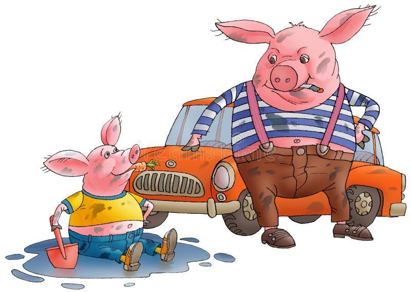 Schwein und Schwein schmutzig. vektor abbildung