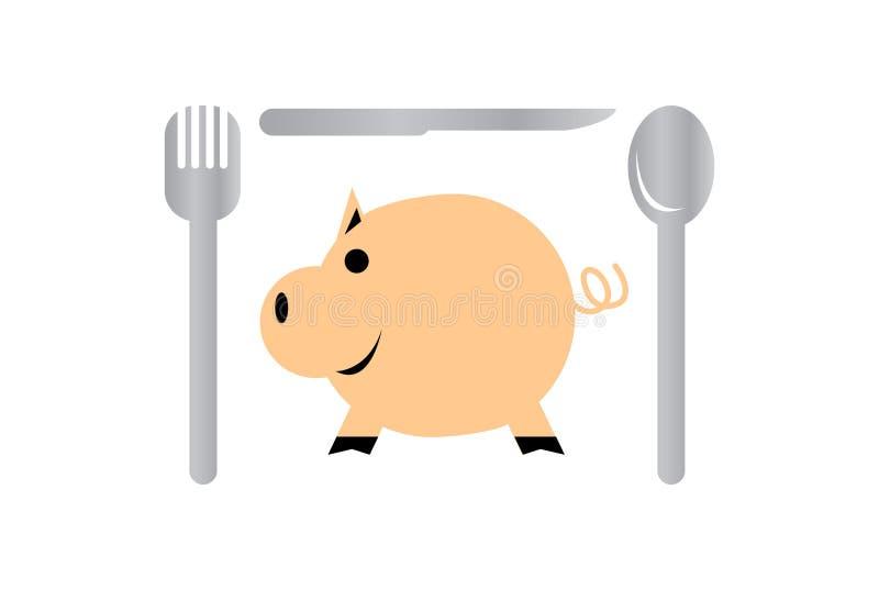 Schwein und Tischbesteck lokalisiert auf weißem Hintergrund stock abbildung