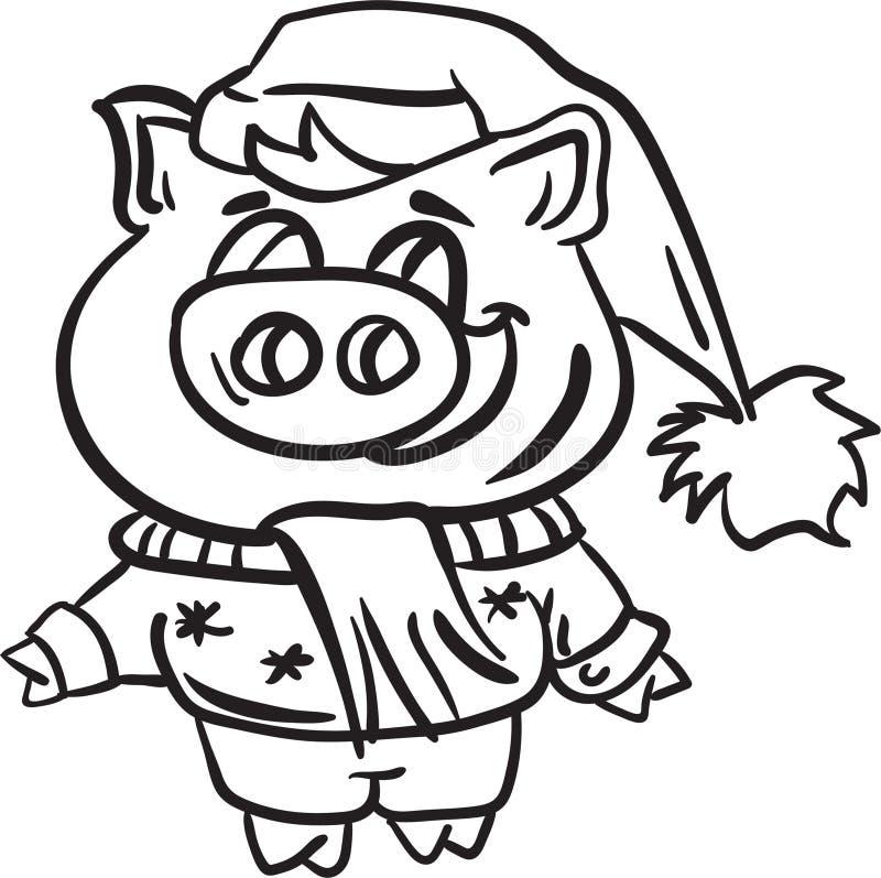 Schwein- und Winterweihnachtsfarbtonseitentier stockfotografie