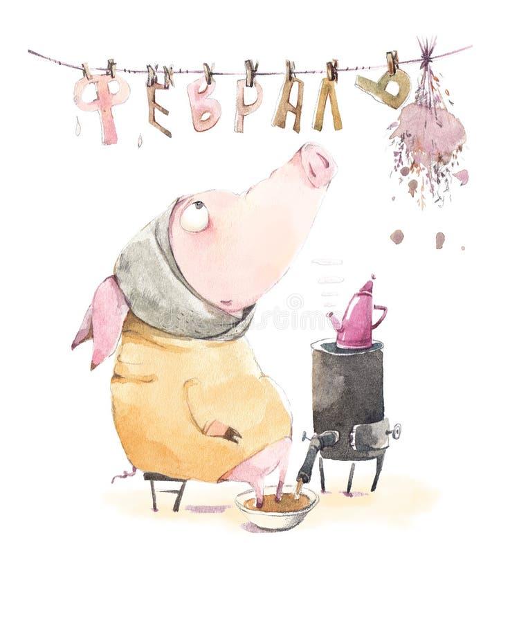 Schwein wärmt Wartefeder auf lizenzfreie abbildung