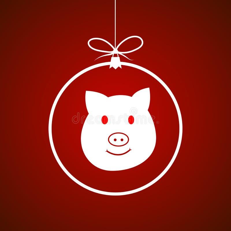 Schweindekorationsvektor-Illustrationsball des neuen Jahres stock abbildung