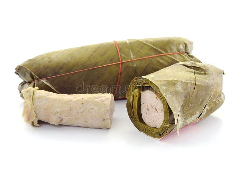 Schweinefleisch eingewickelt in den Bananenblättern. lizenzfreies stockfoto