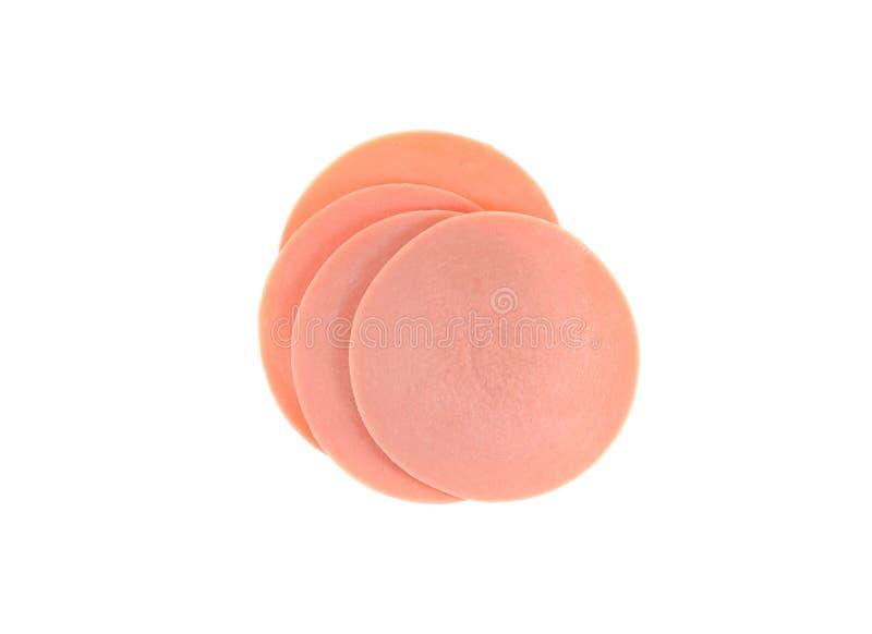 Schweinefleisch Ham Slices Isolated auf weißem Hintergrund stockfoto