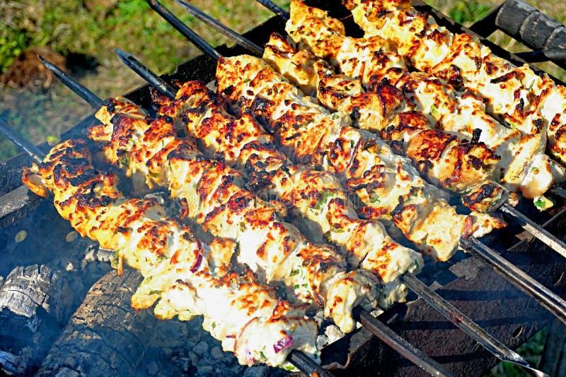 Schweinefleisch shashlik auf der Holzkohle vorbereiten mangal lizenzfreie stockfotos
