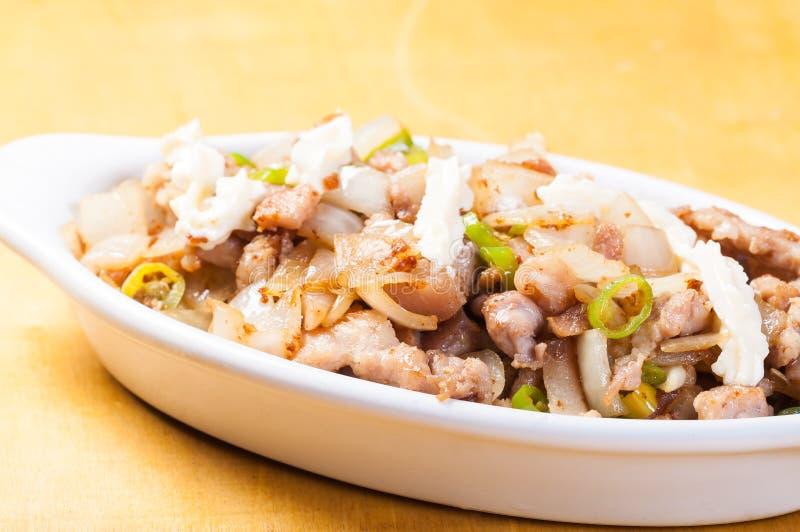 Schweinefleisch sisig eine populäre Zartheit in den Philippinen stockbild