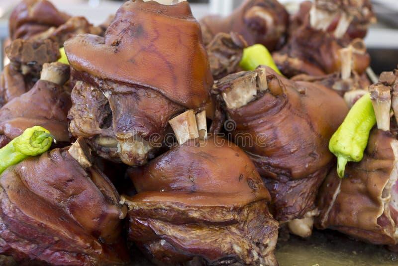 Schweinefleischsteak mit grünem Paprika stockbilder
