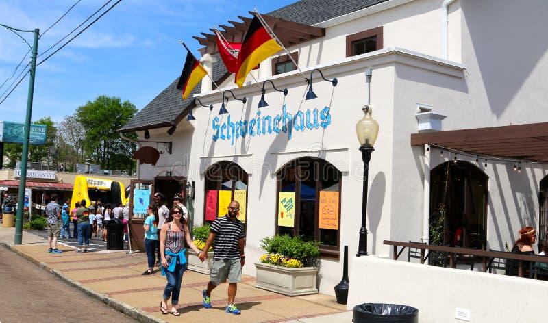 Schweinehaus Beiers Restaurant in Overton-Vierkant in Memphis stock afbeeldingen