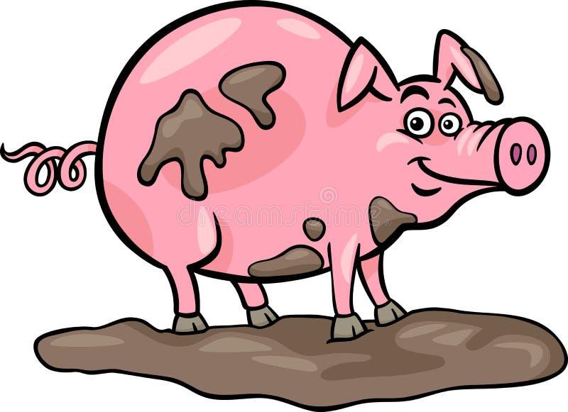 Schweinezuchtbetriebtierkarikaturabbildung lizenzfreie abbildung