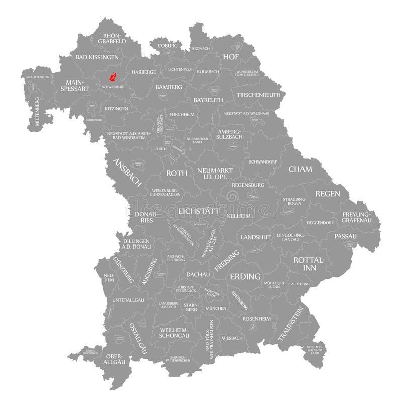 Schweinfurt miasta czerwień podkreślająca w mapie Bavaria Niemcy ilustracja wektor