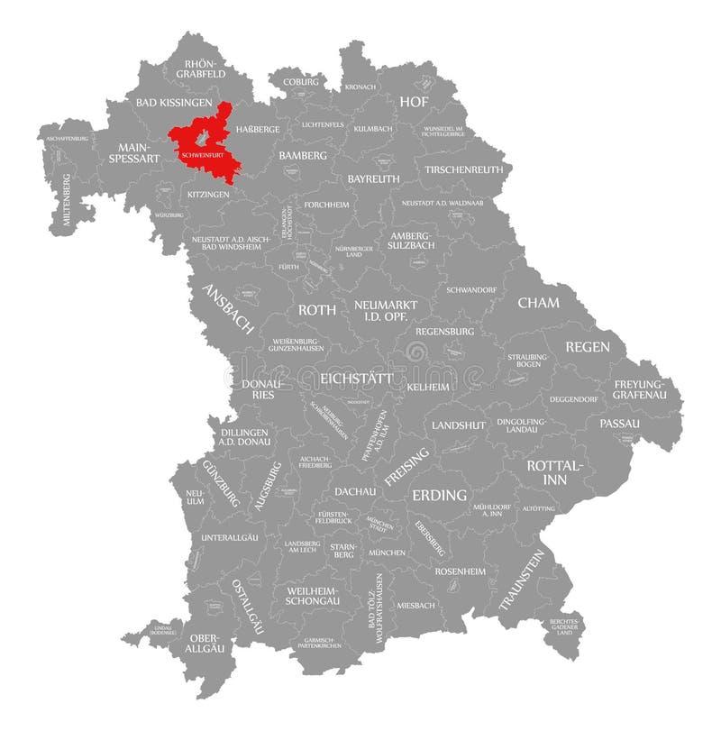Schweinfurt okręgu administracyjnego czerwień podkreślająca w mapie Bavaria Niemcy ilustracja wektor