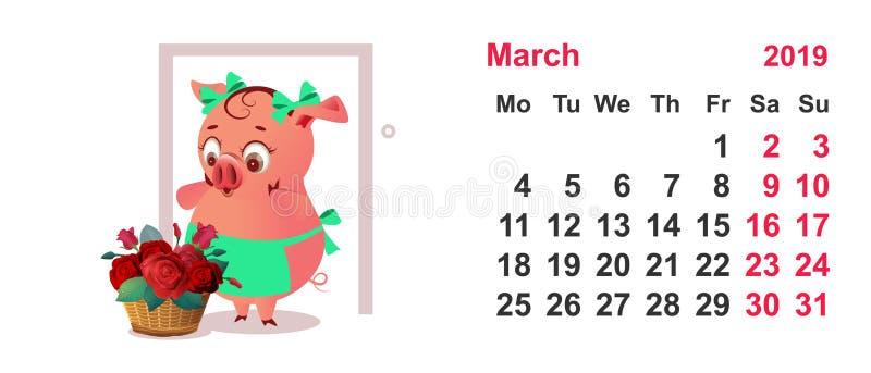 Schweinhausfrau im Schutzblech und im Korb von Blumen als Geschenk Jahr des Kalendergitters im März 2019 vektor abbildung