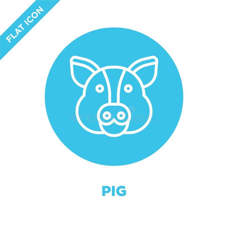 Schweinikonenvektor von der Tierhauptsammlung Dünne Linie Schweinentwurfsikonen-Vektorillustration Lineares Symbol für Gebrauch a vektor abbildung