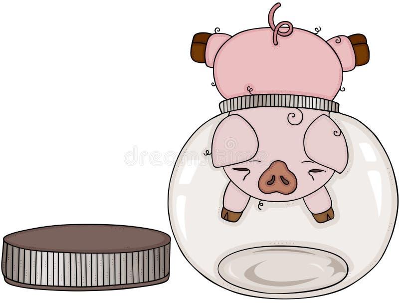 Schweinkopf gehaftet im transparenten Glasglas der leeren Runde vektor abbildung