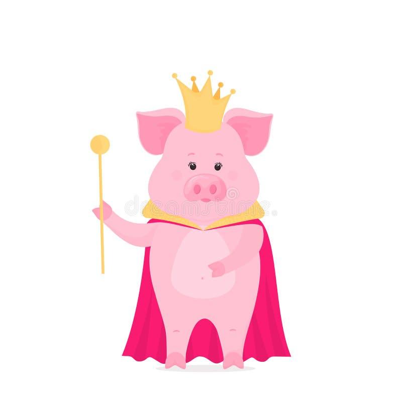 Schweinprinz in einer Krone mit einem Zepter in seiner Hand Ferkelkönig im Umhang stock abbildung