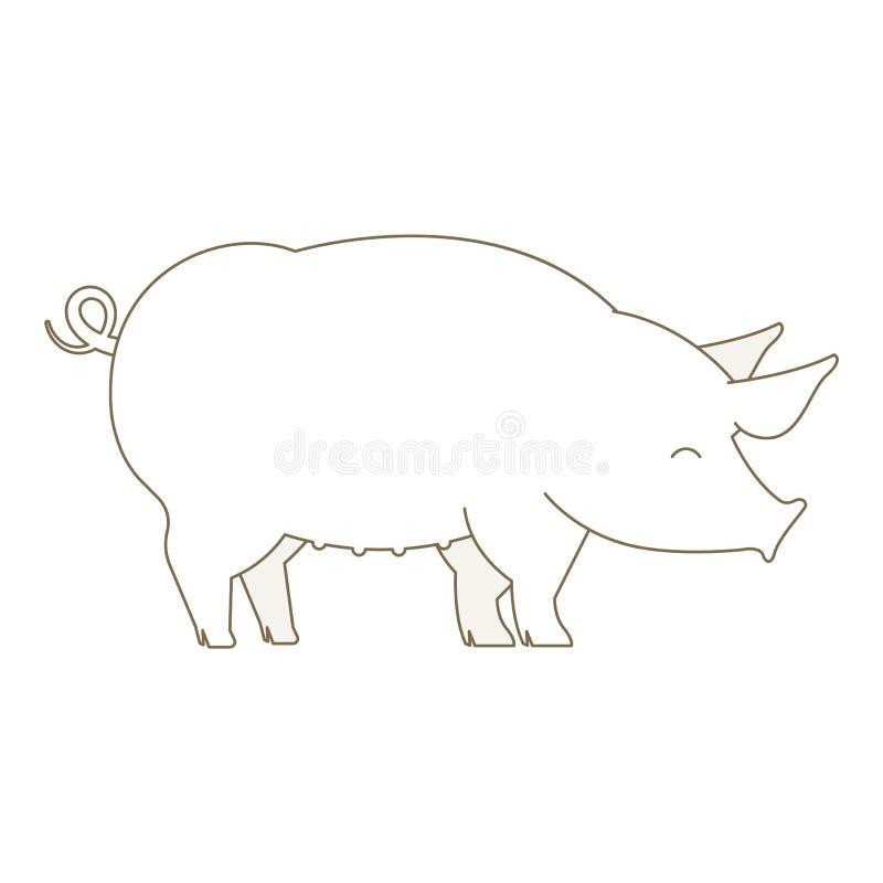 Schweintier schweinefleisch Entwurfslinie Konturnvektor-Ikonenillustration vektor abbildung