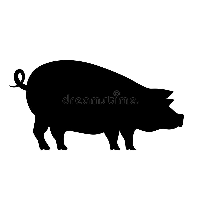Schweinvektor-Schattenbildikone lizenzfreie abbildung