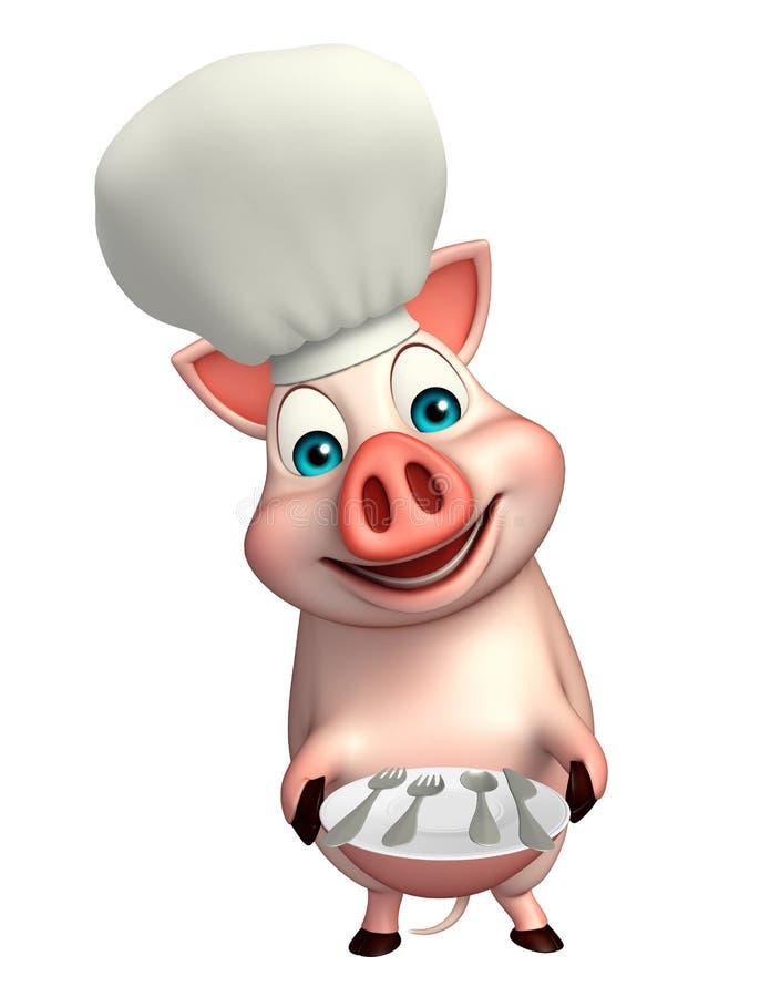 Schweinzeichentrickfilm-figur mit Chefhut und großem Teller lizenzfreie abbildung