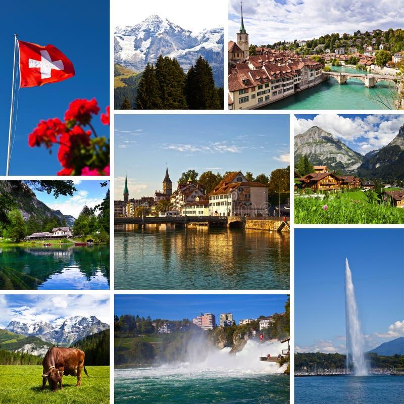 Schweiz beskådar collage royaltyfri fotografi