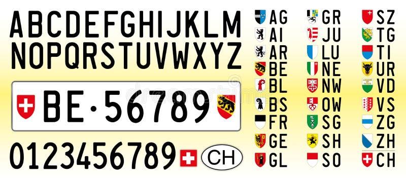 Schweiz bilplatta, bokstäver, nummer och symboler vektor illustrationer