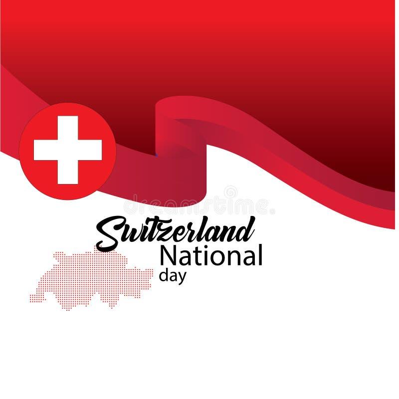 Schweiz flagga, lycklig schweizisk nationell dag - vektor stock illustrationer