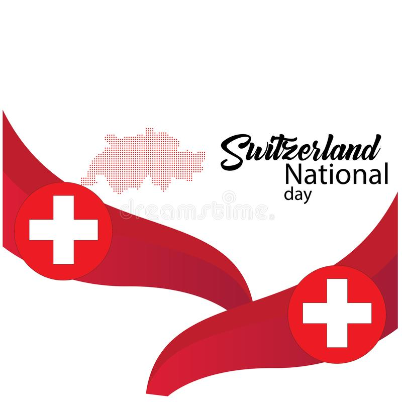 Schweiz flagga, lycklig schweizisk nationell dag - vektor vektor illustrationer