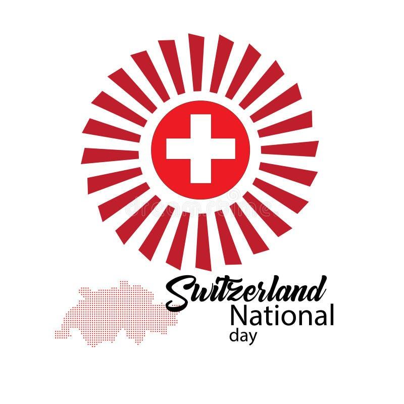 Schweiz flagga, lycklig schweizisk nationell dag - vektor royaltyfri illustrationer