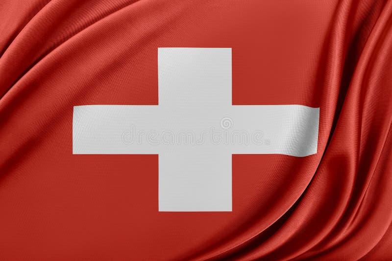 Schweiz flagga med en glansig siden- textur vektor illustrationer
