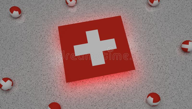Schweiz flagga vita röda Europa stock illustrationer