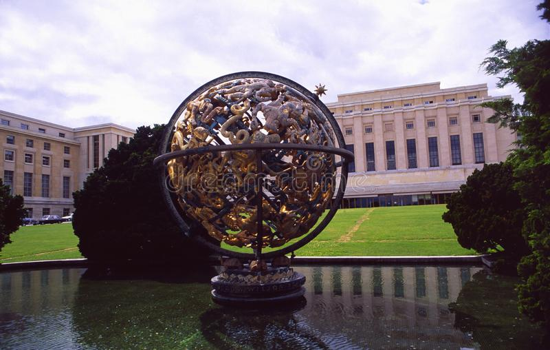 Schweiz: FN-beskickningen och Palaiset des Nations i Genève royaltyfri fotografi