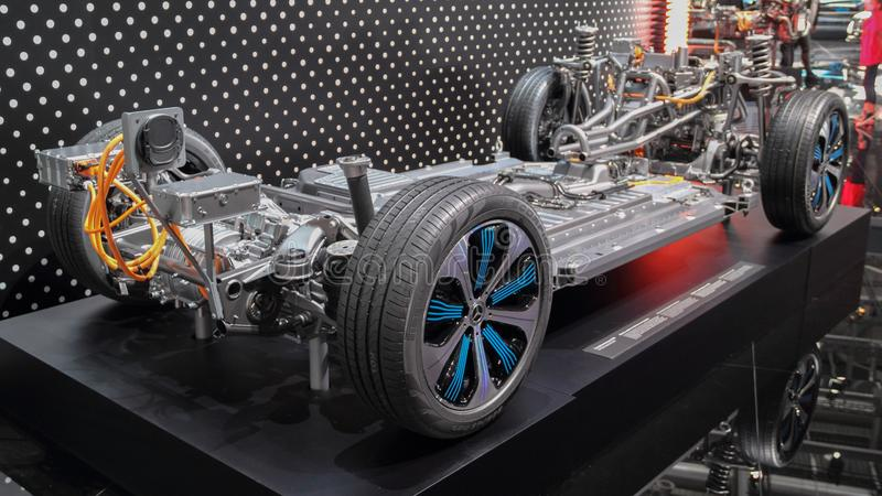 Schweiz; Genève; Mars 10, 2019; Mercedes-Benz EQ chassi; Den 89th internationella motorshowen i Genève från 7th till 17th av royaltyfri foto