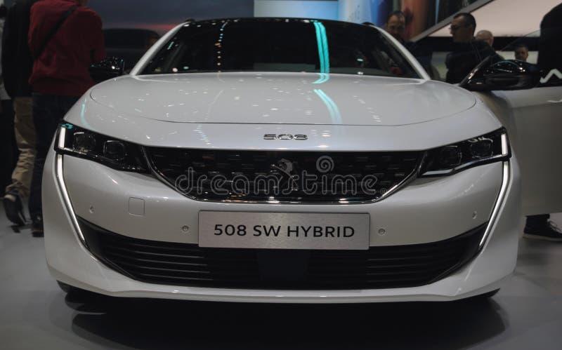 Schweiz; Genève; Mars 11, 2019; Sikt för hybrid- schweizisk premiär för Peugeot 508 strömbrytare främre; Den 89th internationella royaltyfria foton