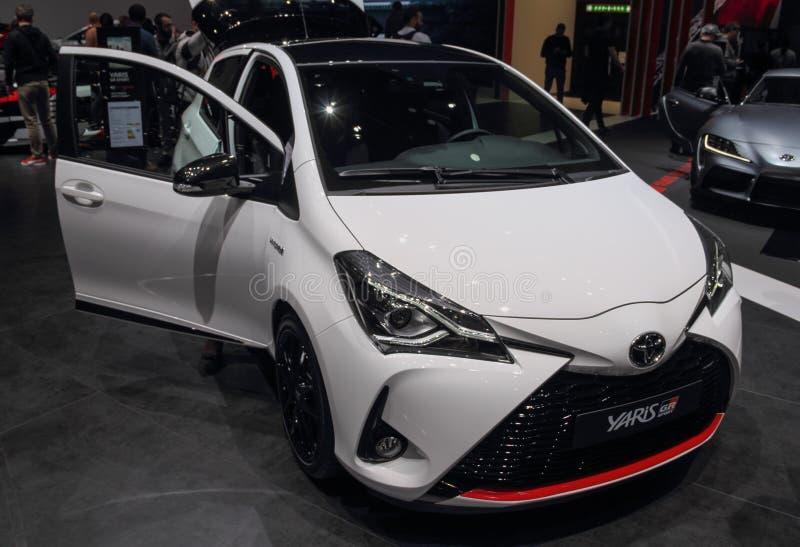 Schweiz; Genève; Mars 9, 2019; Toyota Yaris GR sport; Den 89th internationella motorshowen i Genève från 7th till 17th av mars, royaltyfri fotografi