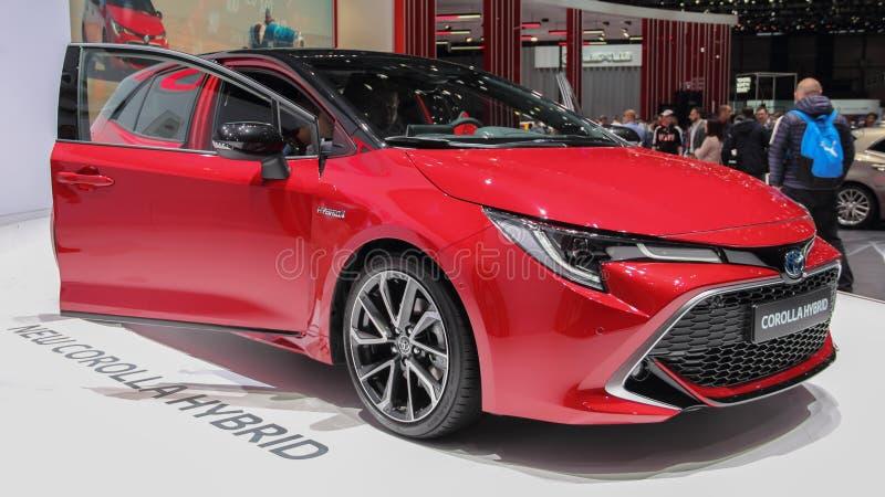 Schweiz; Gen?ve; Mars 9, 2019; Toyota Corolla bland; Den 89th internationella motorshowen i Gen?ve fr?n 7th till 17th av mars, arkivfoto