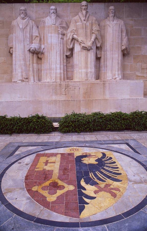 Schweiz: Reformationväggen i Genèvestad arkivbilder