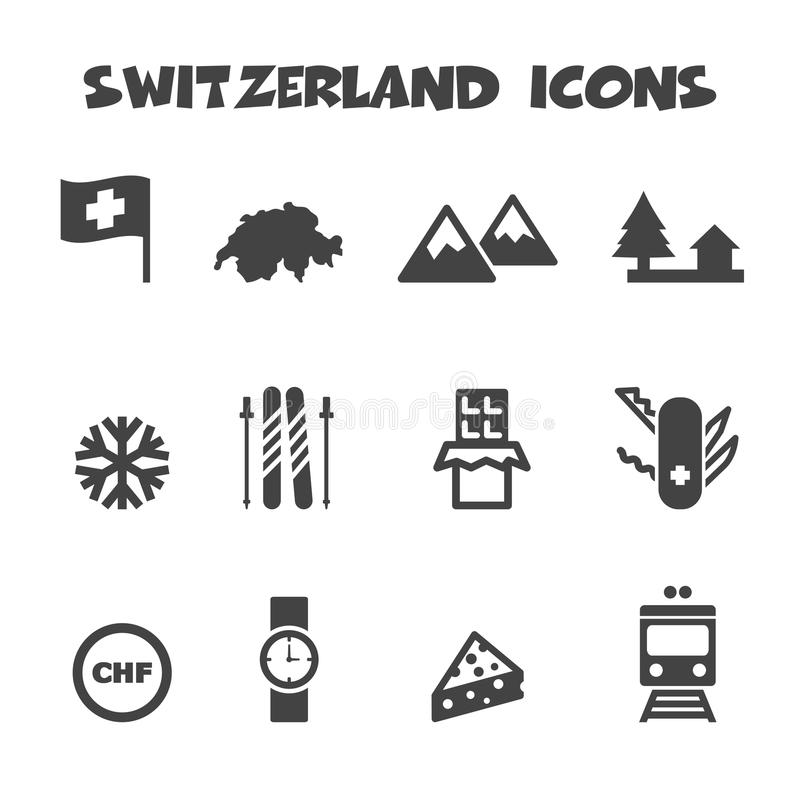 Schweiz symboler stock illustrationer