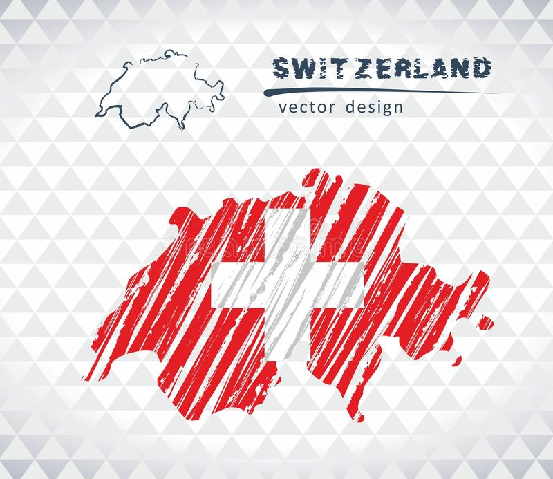 Schweiz vektoröversikt med flaggainsidan som isoleras på en vit bakgrund Skissa drog illustrationen för krita handen stock illustrationer