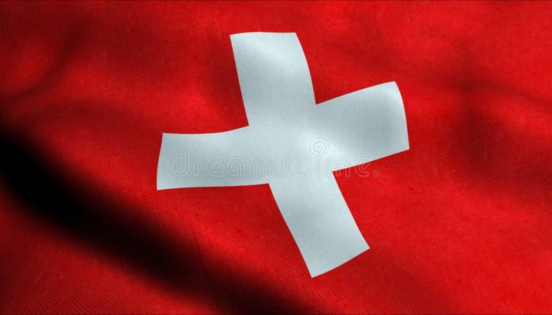 Schweiz vinkande flagga i 3D stock illustrationer
