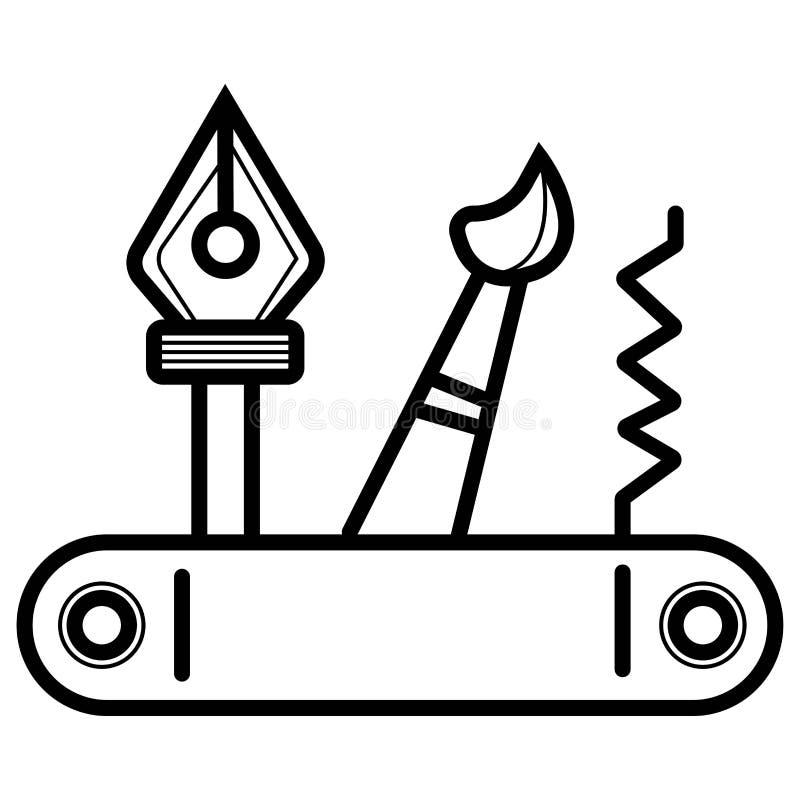 Schweizareknivsymbol vektor illustrationer