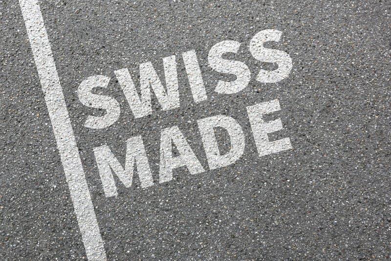 Schweizaren gjorde företaget för marknadsföringen för produktkvalitet arkivfoton