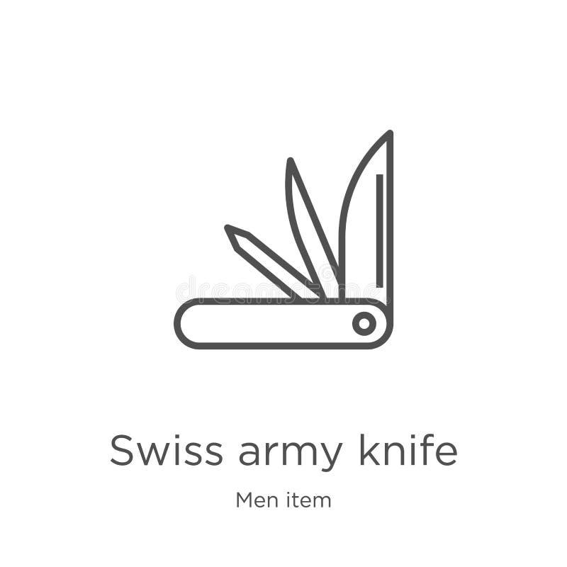 Schweizer Armeemesser-Ikonenvektor von der Manneinzelteilsammlung Dünne Linie Schweizer Armeemesser-Entwurfsikonen-Vektorillustra lizenzfreie abbildung