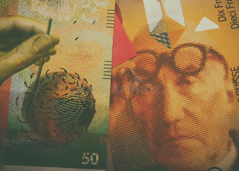 Schweizer Bargeldbanknoten Detail einer Nahaufnahme lizenzfreie stockfotos