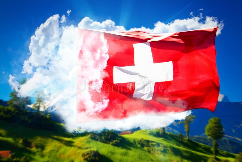 Schweizer Flaggencollage lizenzfreie stockfotografie
