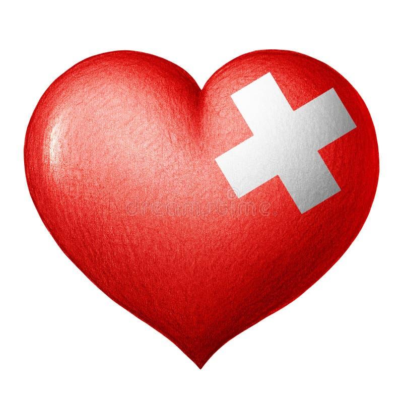 Schweizer Flaggenherz lokalisiert auf weißem Hintergrund Zeichnung des Baums auf einem weißen Hintergrund stockfotos