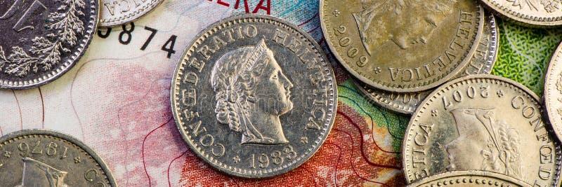 Schweizer Franken und Papieranmerkungen stockfoto
