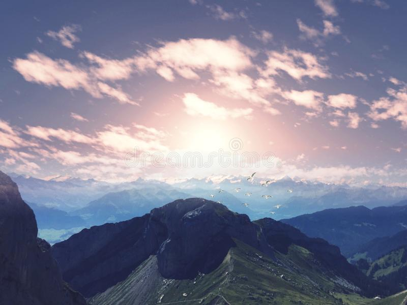 Schweizer Gebirgszug lizenzfreies stockbild