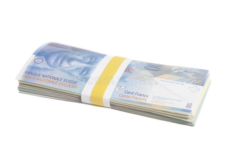 Schweizer hundert Frankenanmerkungen mit Band lizenzfreies stockfoto