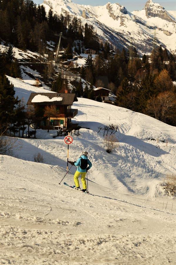Schweizer Landschaft und Skifahrer stockfoto